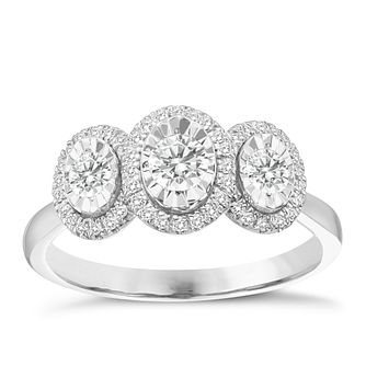 9ct White Gold 0.50ct Oval 3 Stone Illusion Set Diamond Ring - Product number 8350779