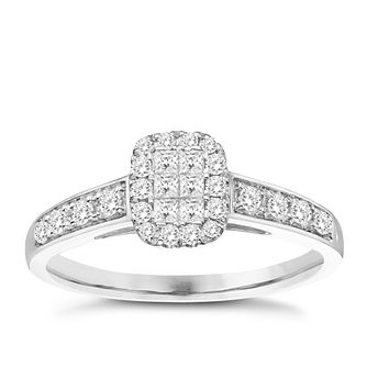 9ct White Gold 0.33ct Princess & Round Diamond Cluster Ring - Product number 8351139