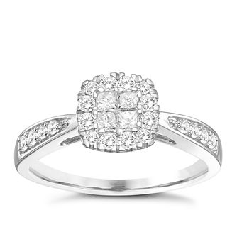 9ct White Gold 1/2ct Round & Princess Diamond Cluster Ring - Product number 8351368