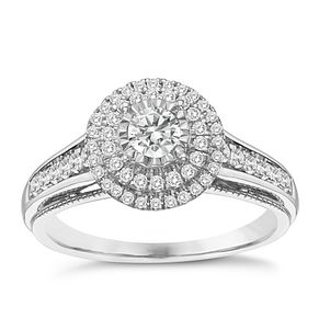9ct White Gold 1/2ct Round Double Halo Diamond Ring - Product number 8351872