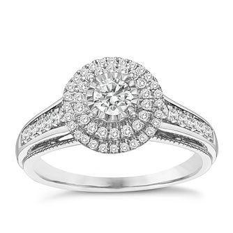 9ct White Gold 0.50ct Round Double Halo Diamond Ring - Product number 8351872