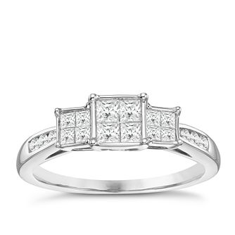 9ct White Gold 0.50ct Princess Illusion Diamond Trilogy Ring - Product number 8352038