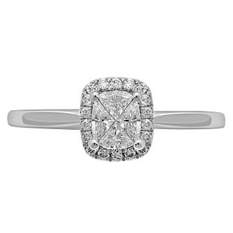 Love Cut 18ct White Gold 0.33ct Rectangle Diamond Halo Ring - Product number 8352321