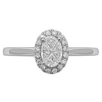 Love Cut 18ct White Gold 0.33ct Oval Diamond Halo Ring - Product number 8352682