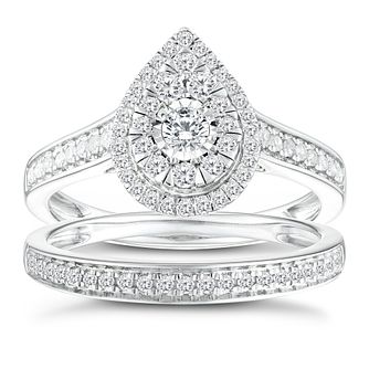 9ct White Gold 1/2ct Pear Double Halo Diamond Bridal Set - Product number 8352992