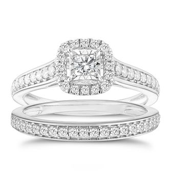 9ct White Gold 0.50ct Cushion Halo Diamond Bridal Set - Product number 8353123