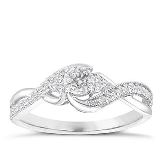 9ct White Gold 1/4ct Solitare Twist Diamond Ring - Product number 8358125