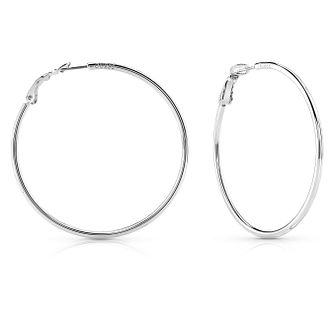 Guess Rhodium Plated Round Circle 65mm Hoop Earrings - Product number 8359180