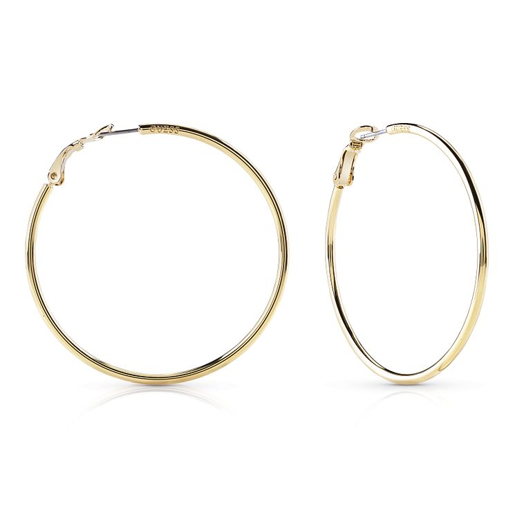 Guess Gold Plated Round Circle 65mm Hoop Earrings - Product number 8359199