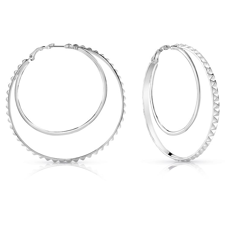 Guess Rhodium Plated Double Circle 65mm Hoop Earrings - Product number 8359202