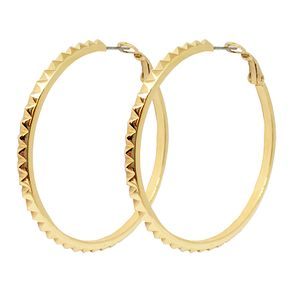 Guess Gold Plated Rhodium Studded Hoop Earrings - Product number 8359253