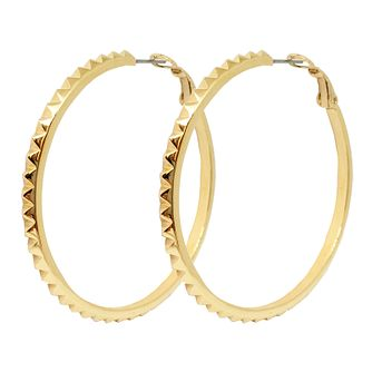 Guess Gold Plated Studded 50mm Hoop Earrings - Product number 8359253