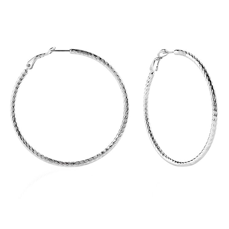 Guess Rhodium Plated Pattern 60mm Hoop Earrings - Product number 8359288