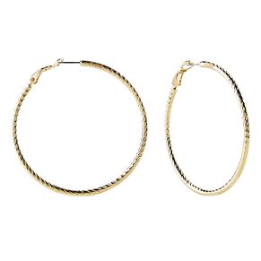 Guess Gold Plated Pattern 60mm Hoop Earrings - Product number 8359296