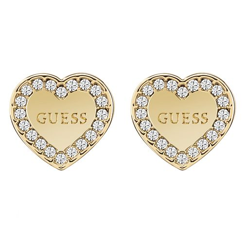 Guess Gold Plated Heart Pave Frame Stud Earrings - Product number 8359342