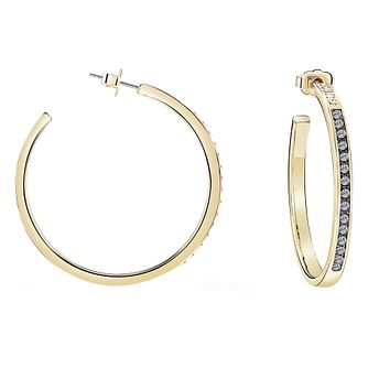 Guess Gold Plated Black Diamond Crystal Hoop Earrings - Product number 8359385