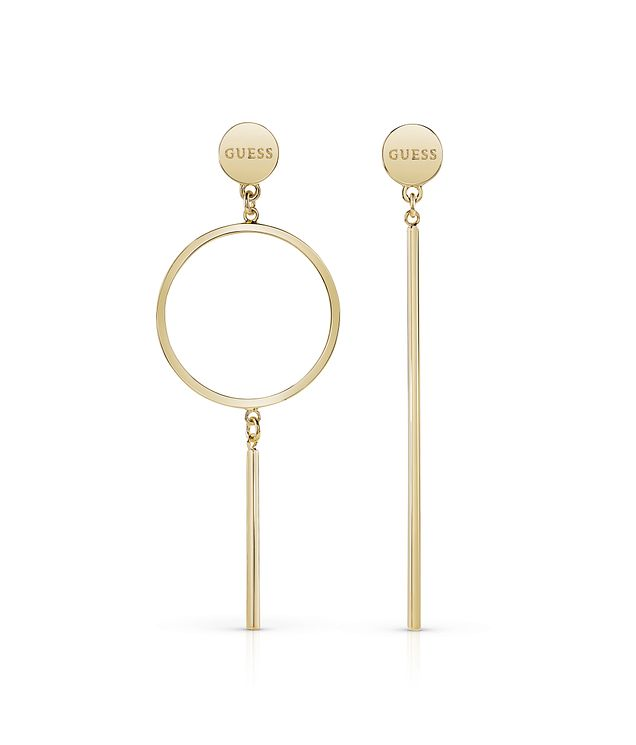 Guess Gold Plated Long Bar & Circle Earrings - Product number 8359407