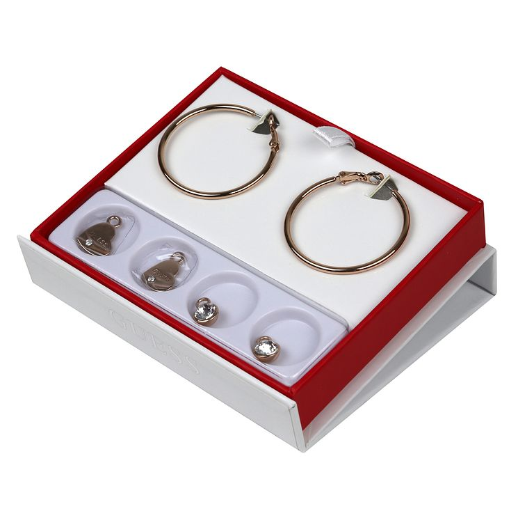 Guess Rose Gold Plated Hoop Earrings & Charm Set