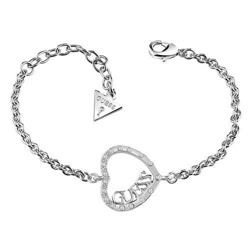 Guess Rhodium Plated Sparkle Heart Bracelet - Product number 8359555