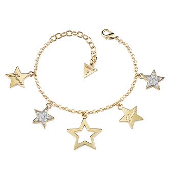 Guess Gold Plated Multi Star Charm Bracelet - Product number 8359636