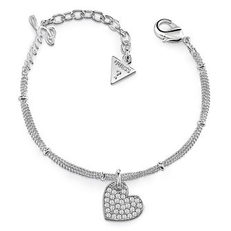 Guess Rhodium Plated Pave Heart Charm Bracelet - Product number 8360049