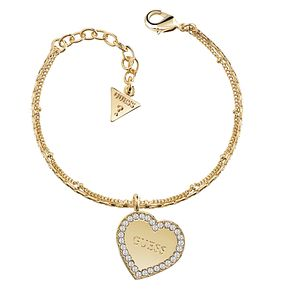 Guess Gold Plated Framed Heart Charm Bracelet - Product number 8360073