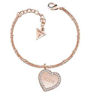Guess Rose Gold Plated Framed Heart Charm Bracelet - Product number 8360081