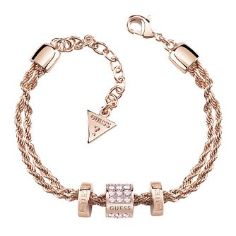 Guess Rose Gold Plated Aurora Crystal Three Bead Bracelet - Product number 8360154