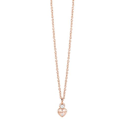 Guess Rose Gold Plated Crystal Heart Charm Necklace - Product number 8360219