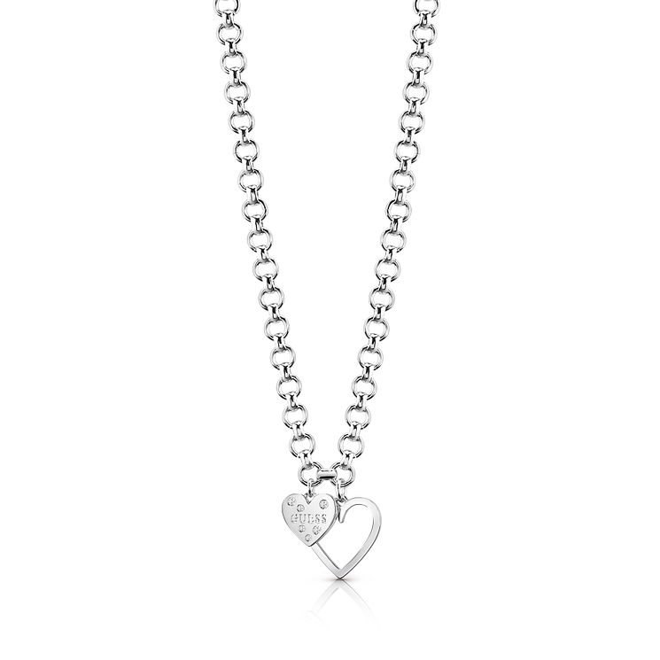 Guess Rhodium Plated Double Heart Chain Necklace - Product number 8360324