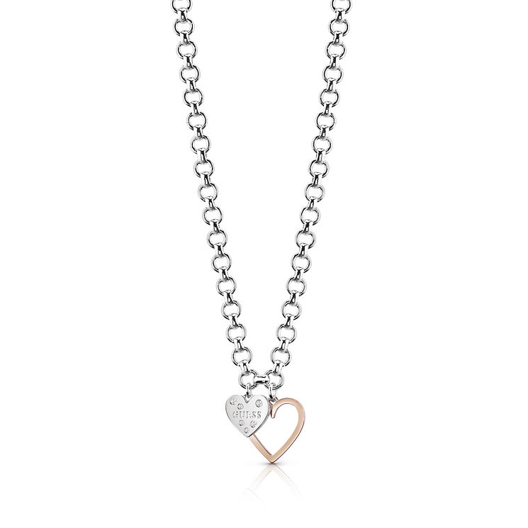 Guess Two Tone Double Heart Chain Necklace - Product number 8360332