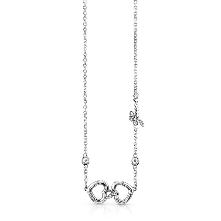 Guess Rhodium Plated Double Heart Necklace - Product number 8360367