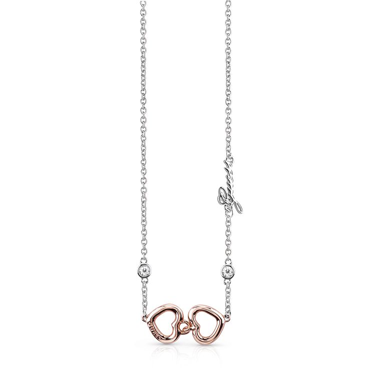 Guess Two Tone Double Heart Necklace - Product number 8360375