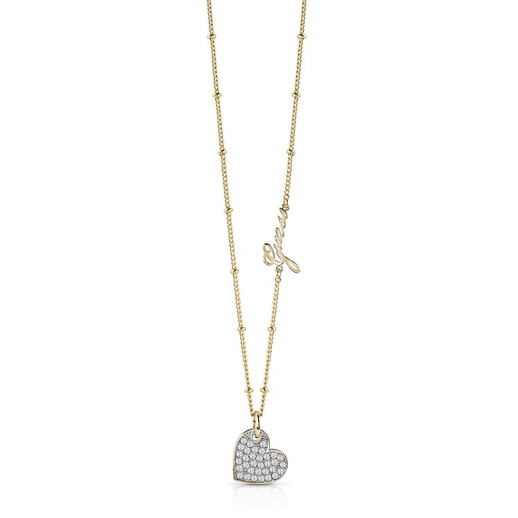 Guess Gold Plated Pave Heart Necklace - Product number 8360421