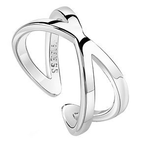 Guess Rhodium Plated Crossed Bars Ring - Product number 8360669