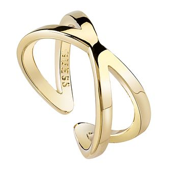 Guess Gold Plated Crossed Bars Ring - Product number 8360677