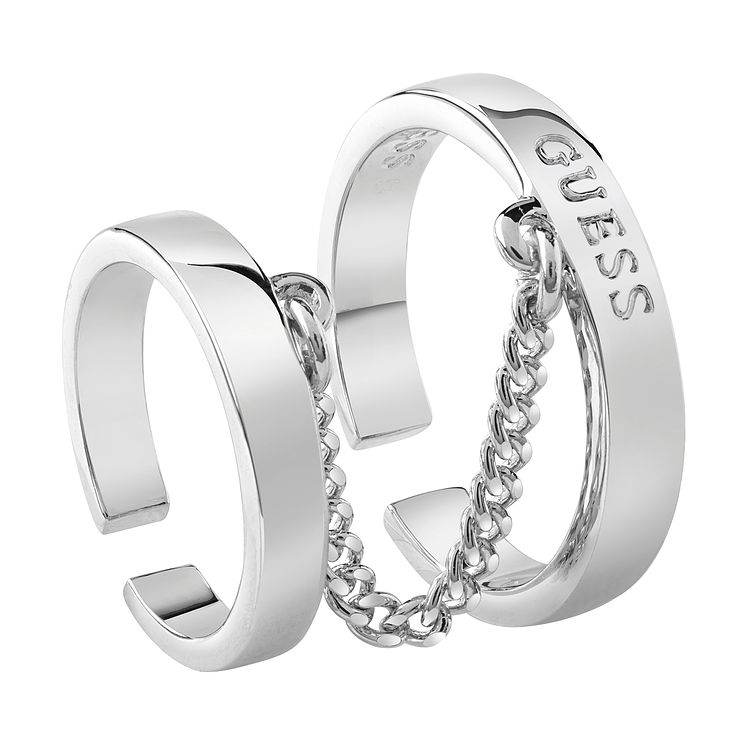 Guess Rhodium Plated Two Bars & Chain Ring - Product number 8360715