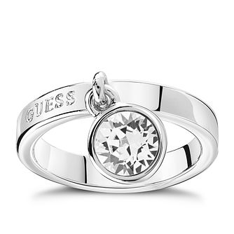 Guess Rhodium Plated Crystal Charm Ring - Product number 8360839