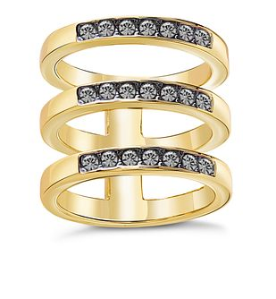 Guess Gold Plated Black Swarovski Crystal Rows Ring - Product number 8361010