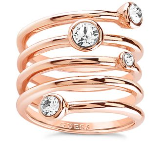 Guess Rose Gold Plated Multi Crystal Spiral Ring - Product number 8361096