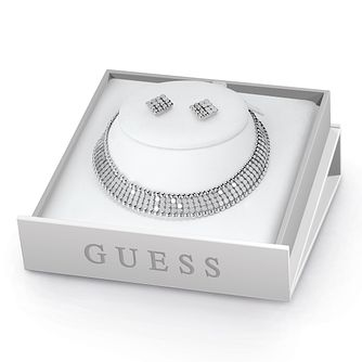 Guess Rhodium Plated Mesh Necklace & Stud Earrings Set - Product number 8361118