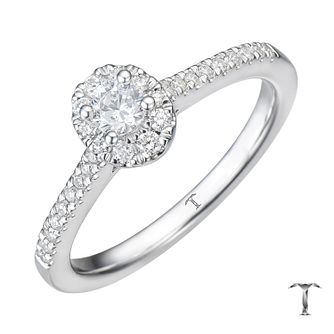 Tolkowsky 18ct White Gold 0.38ct Oval Halo Diamond Ring - Product number 8361452