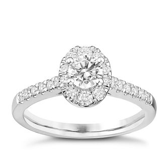 Tolkowsky 18ct White Gold 3/4ct Oval Halo Diamond Ring - Product number 8361584