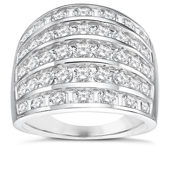 18ct White Gold 2ct Diamond 5 Row Taper Band - Product number 8362289