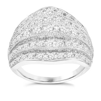 18ct White Gold 1ct Diamond Miligrain 5 Row  Band - Product number 8363013