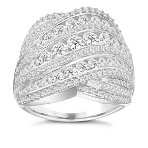 18ct White Gold 2ct Diamond Round Wave Band - Product number 8363196