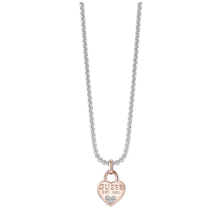 Guess Rhodium & Rose Gold Plated Heart Pendant - Product number 8367574