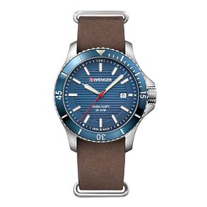 Wenger Seaforce Men's Brown Leather Strap Watch - Product number 8367957