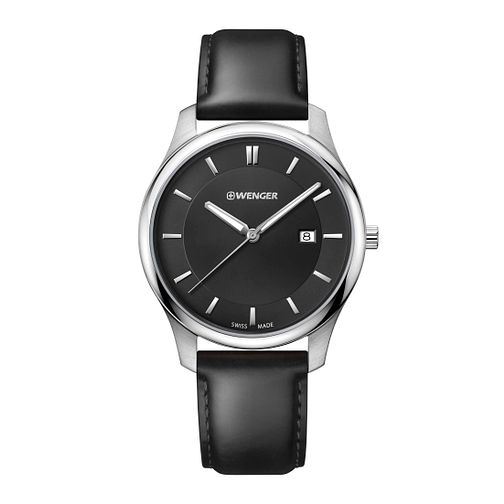 Wenger City Classic Men's Black Leather Strap Watch - Product number 8368007