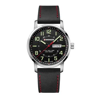 Wenger Attitude Men's Black Leather Strap Watch - Product number 8368112